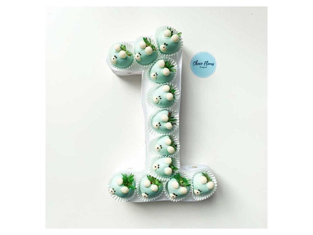 Číslice z jahod v čokoládě - modří medvídci