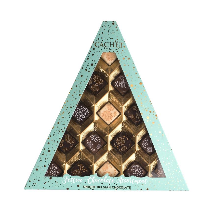 Cachet belgické pralinky Vánoční- Triangl, 195 gr