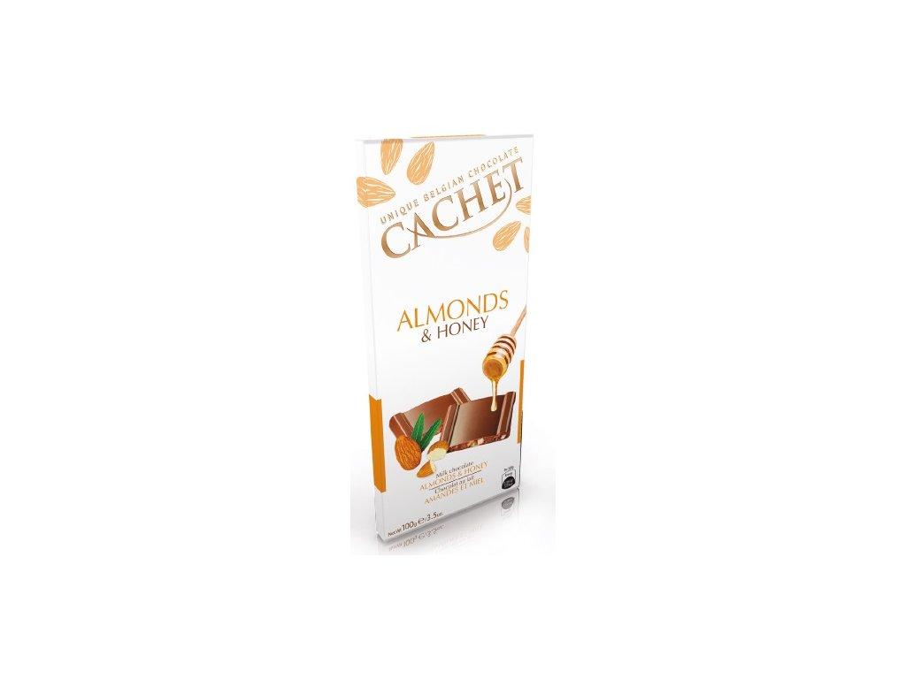 Tabulková čokoláda Cachet -mléčná s mandlemi a medem, 100 gr