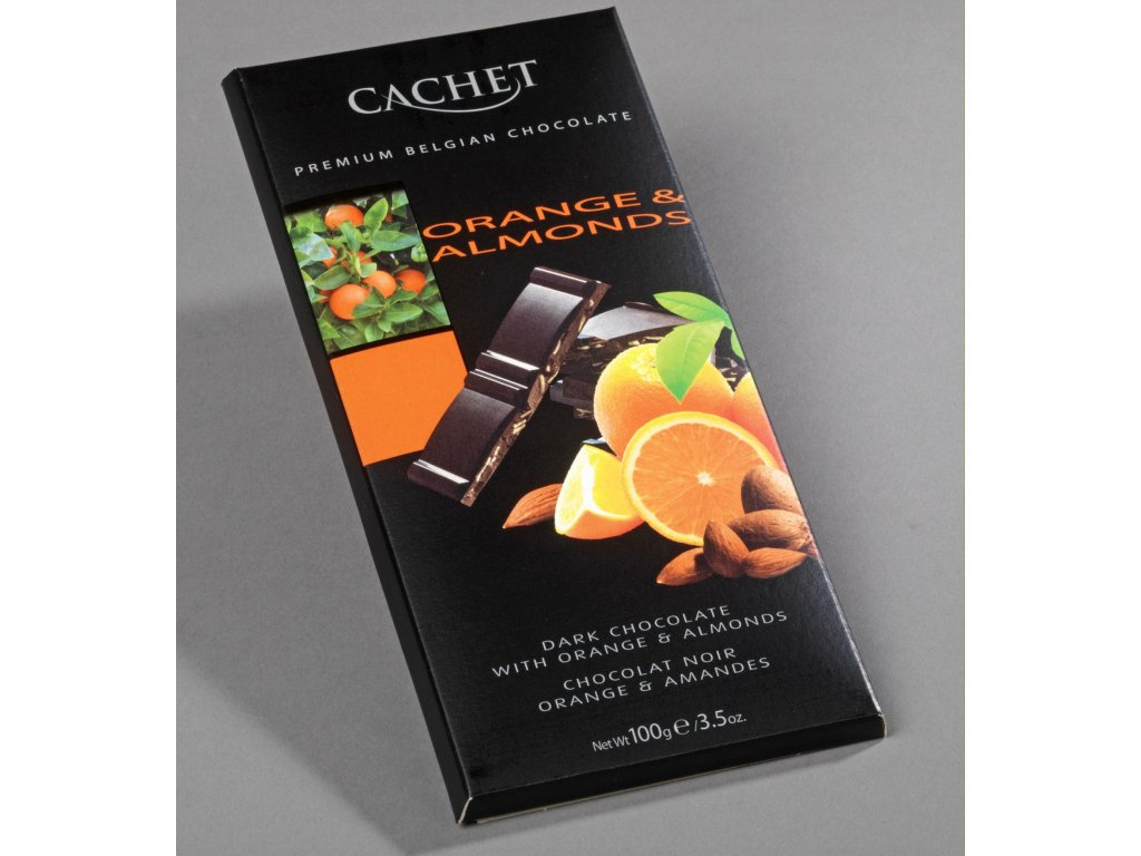 Tabulková čokoláda Cachet -hořká s pomerančem a mandlemi, 100 gr