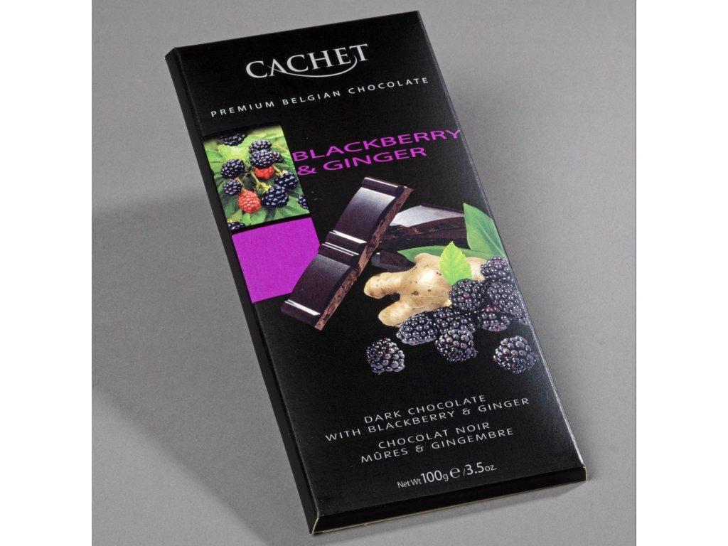 Tabulková čokoláda Cachet -hořká s ostružinami a zázvorem, 100 gr