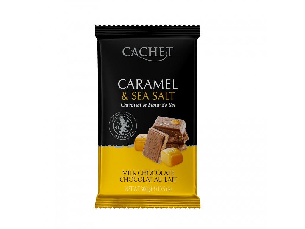 Tabulková čokoláda Cachet -mléčná s mořskou solí a karamelem, 300 gr