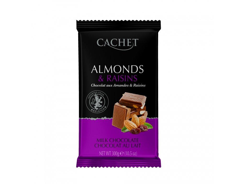 Tabulková čokoláda Cachet -mandle a rozinky, 300 gr