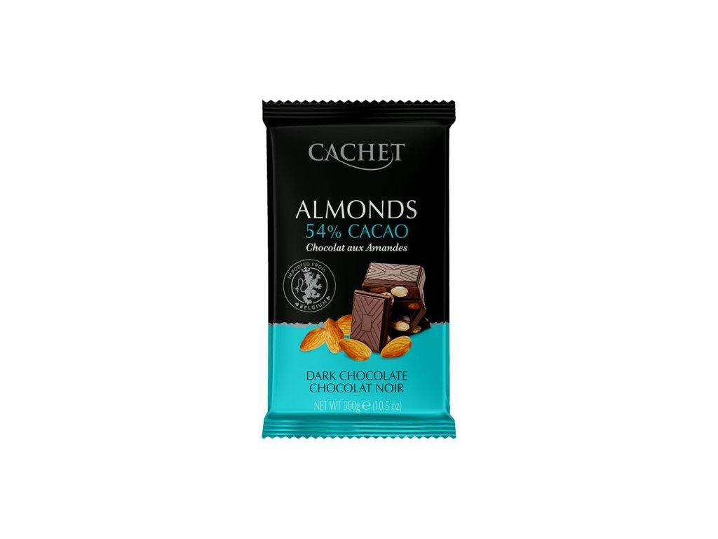 Tabulková čokoláda Cachet -hořká s mandlemi 53%, 300 gr