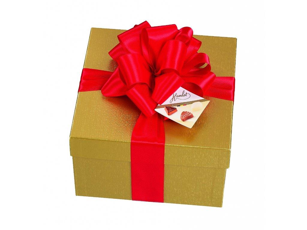 Belgické pralinky Hamlet -Zlatý box s červenou mašlí, 800 gr