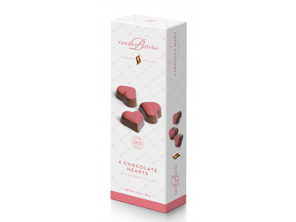 Belgické pralinky Vandenbulcke -čokoládová srdce, 50 gr
