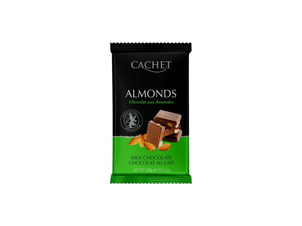 Tabulková čokoláda Cachet -mléčná s mandlemi, 300 gr