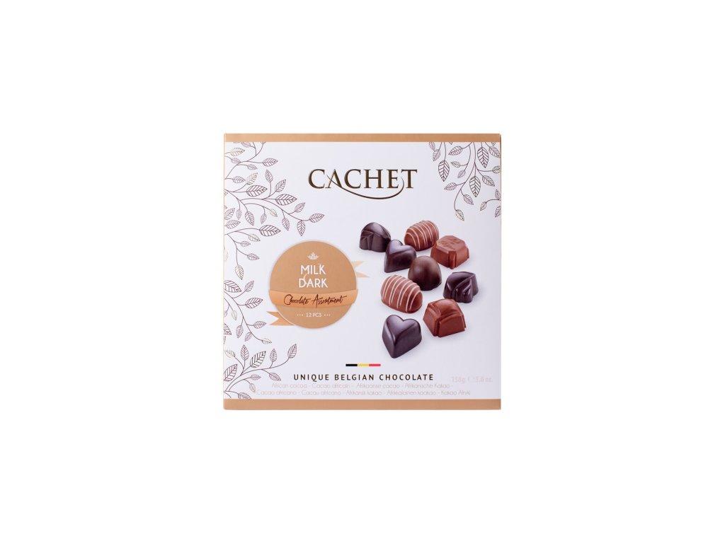Belgické pralinky Cachet -Dark & Milk, 158 gr