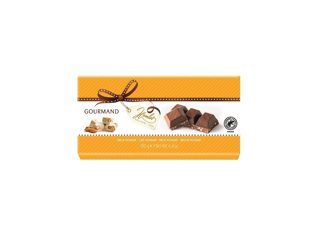 Tabulková čokoláda Hamlet- mléčná s kousky nugátu, 180 gr