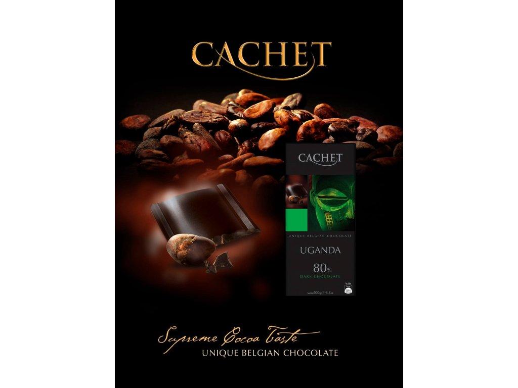 Tabulková čokoláda Cachet -Uganda 80% hořká, 100 gr