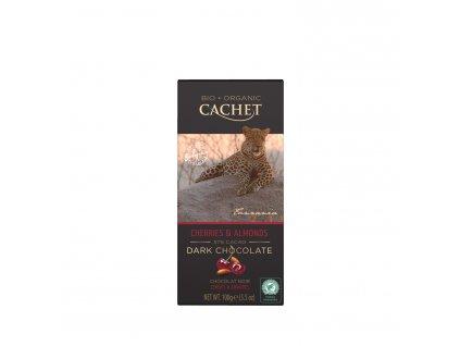 Tabulková čokoláda Cachet -BIO hořká 57% s višněmi a mandlemi, 100 gr