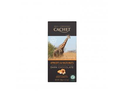 Tabulková čokoláda Cachet -BIO hořká 57% s meruňkami a lískovými ořechy, 100 gr