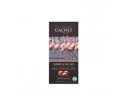 Tabulková čokoláda Cachet -BIO mléčná 40% s karamelem a mořskou solí, 100 gr