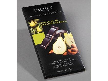 Tabulková čokoláda Cachet -hořká s hruškou a mandlemi, 100 gr