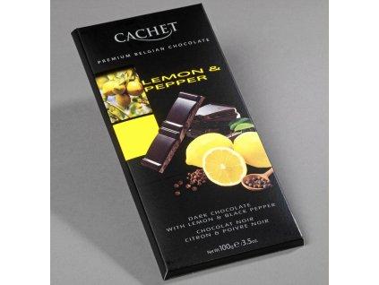 Tabulková čokoláda Cachet -hořká s citronem a pepřem, 100 gr
