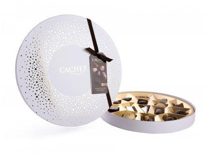 Belgické pralinky Cachet -kulatý box bílý, 200 gr