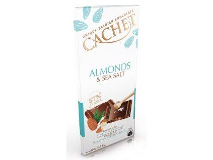 Tabulková čokoláda Cachet -hořká s mandlemi a mořskou solí, 100 gr