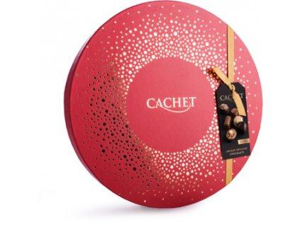 Belgické pralinky Cachet -kulatý box červený, 200 gr