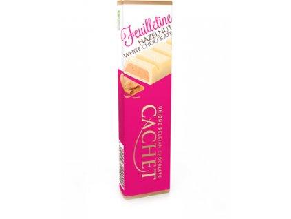 Tabulková čokoláda Cachet -bílá se sušenkou a lískooříškovou náplní, 75 gr