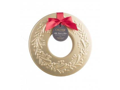 Belgické pralinky Cachet- Vánoční věnec plechový, 260 gr