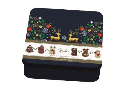 Belgické pralinky Hamlet- Vánoční figurky v plechu s jeleny, 500 gr
