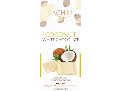 Tabulková čokoláda Cachet -bílá s kokosem, 100 gr