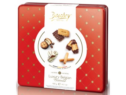 Belgické sušenky Desobry -směs ve zlatém plechu, 400 gr