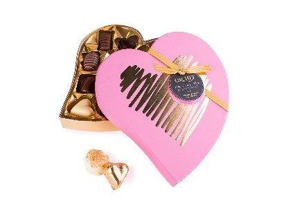 Belgické pralinky Cachet -Srdce červené, 185 gr