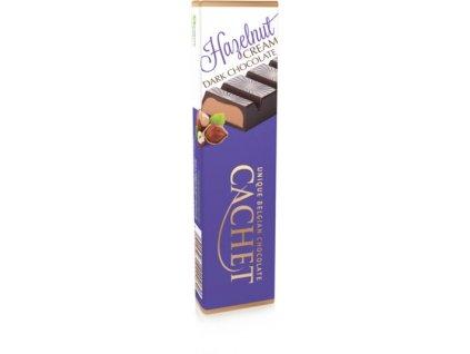 Tabulková čokoláda Cachet -hořká s lískooříškovou náplní, 75 gr