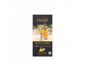 Tabulková čokoláda Cachet -BIO hořká 57% s kokosem a ananasem, 100 gr