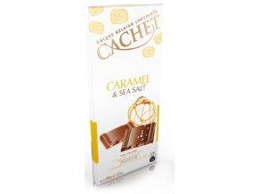 Tabulková čokoláda Cachet -mléčná s mořskou solí a karamelem, 100 gr