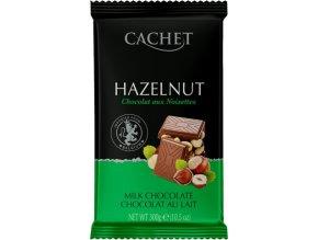 Tabulková čokoláda Cachet -mléčná s lískovými ořechy, 300 gr