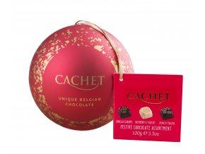Belgické pralinky Cachet- Vánoční koule plechová, 100 gr