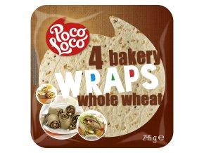 Wraps - pšeničné placky z celozrnné mouky 25 cm - 4 ks