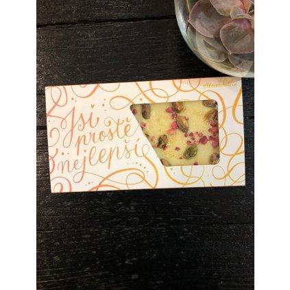 Valentýnská čokoláda pistácie