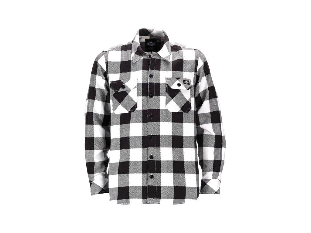 Motorkářská flanelová košile s dlouhým rukávem a motivem kostky Dickies SACRAMENTO BLACK v bílo-černé barvě