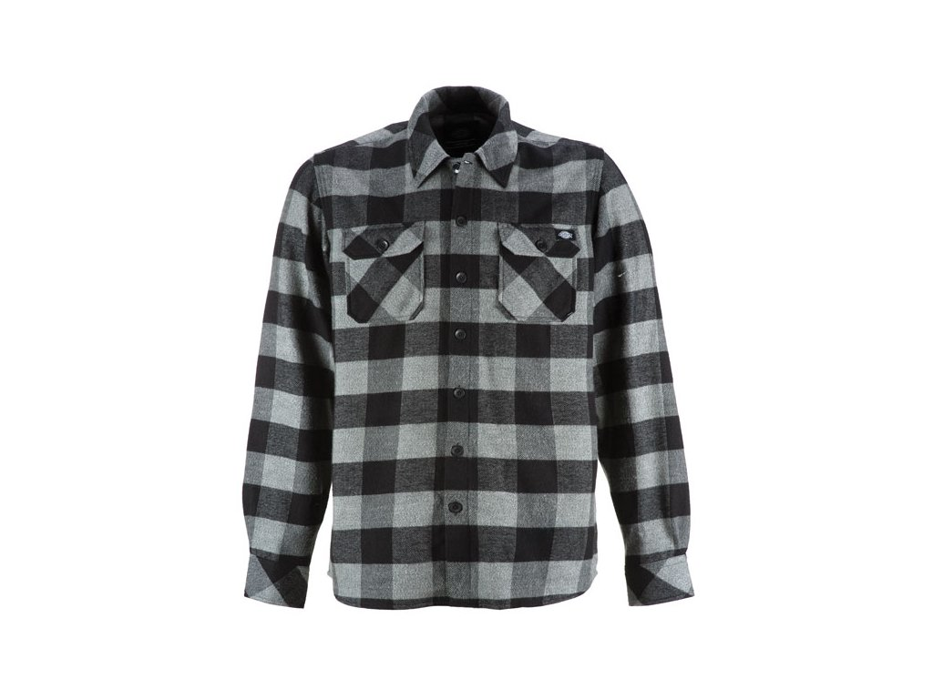 Motorkářská flanelová košile s dlouhým rukávem a motivem kostky Dickies SACRAMENTO GREY MELANGE v šedo-černé barvě