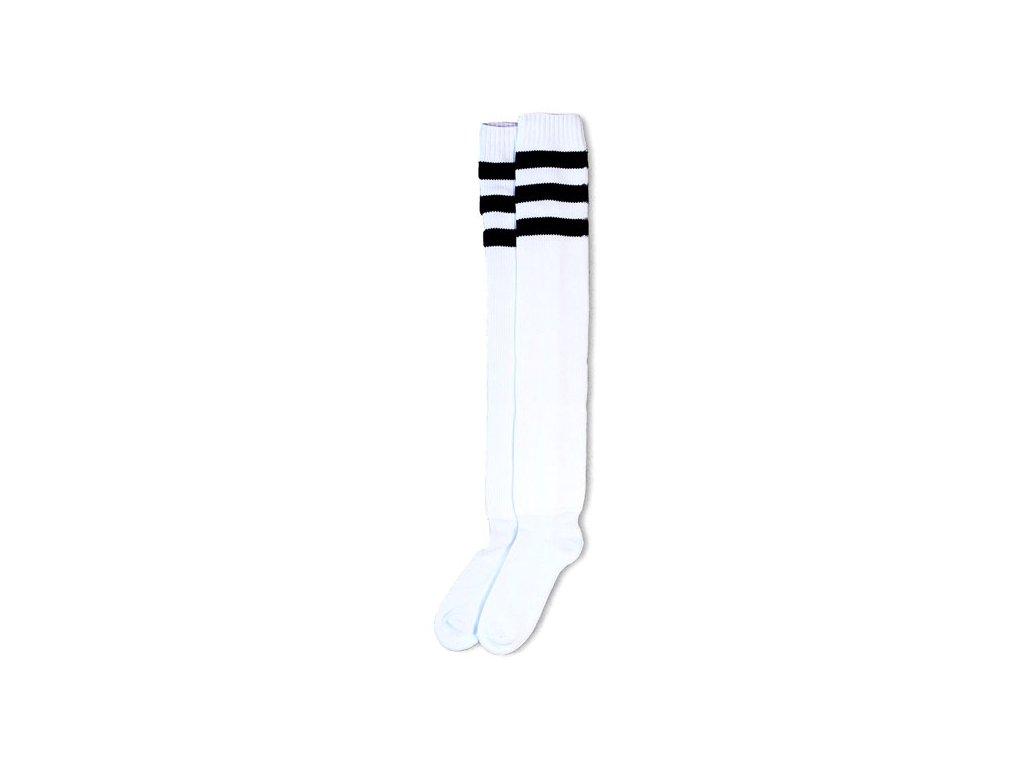 Motorkářské bavlněné vysoké nadkolenky American Socks v bílé barvě