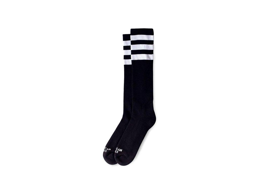 Motorkářské bavlněné vysoké nadkolenky American Socks v černé barvě s bílým pruhem