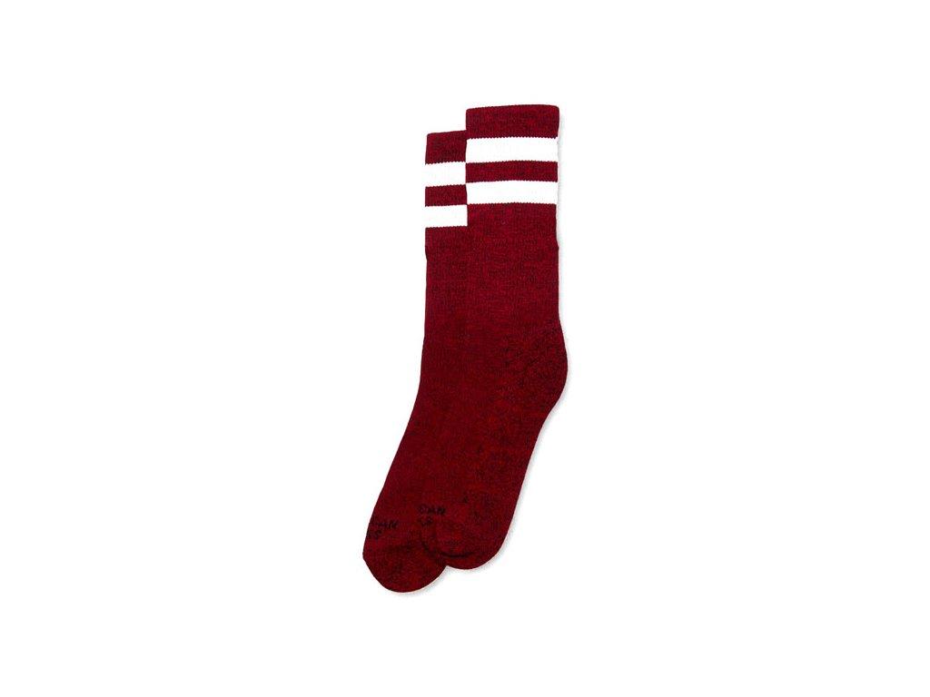 Motorkářské bavlněné vysoké nadkolenky American Socks v červené barvě s bílým pruhem