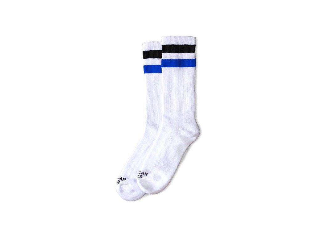 Motorkářské bavlněné vysoké nadkolenky American Socks v bílé barvě s černým a modrým pruhem