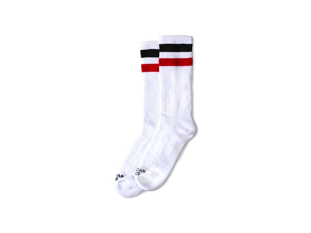 Motorkářské bavlněné vysoké nadkolenky American Socks v bílé barvě s černým a červeným pruhem