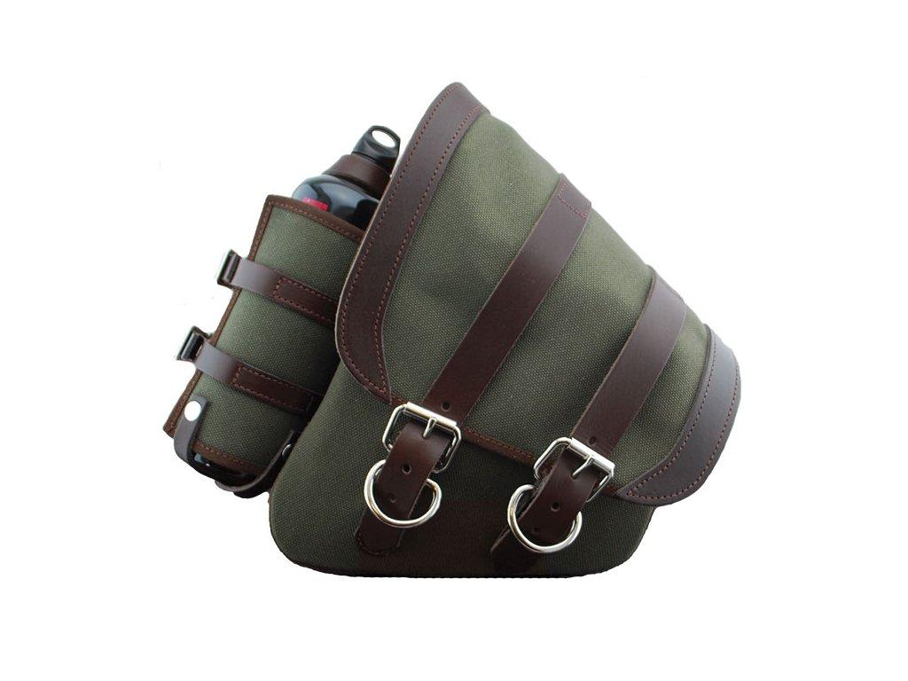 Plátěná taška na levý bok s kapsou na lahev