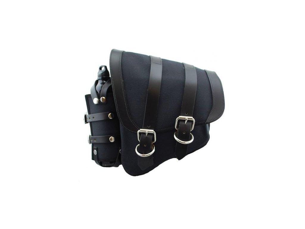 Plátěný batoh černý na levý bok s kapsou na lahev