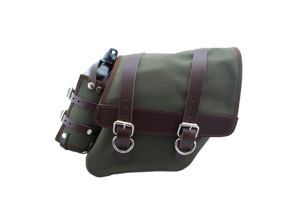 Plátěný batoh LaRosa Design na pravý bok s kapsou na lahev