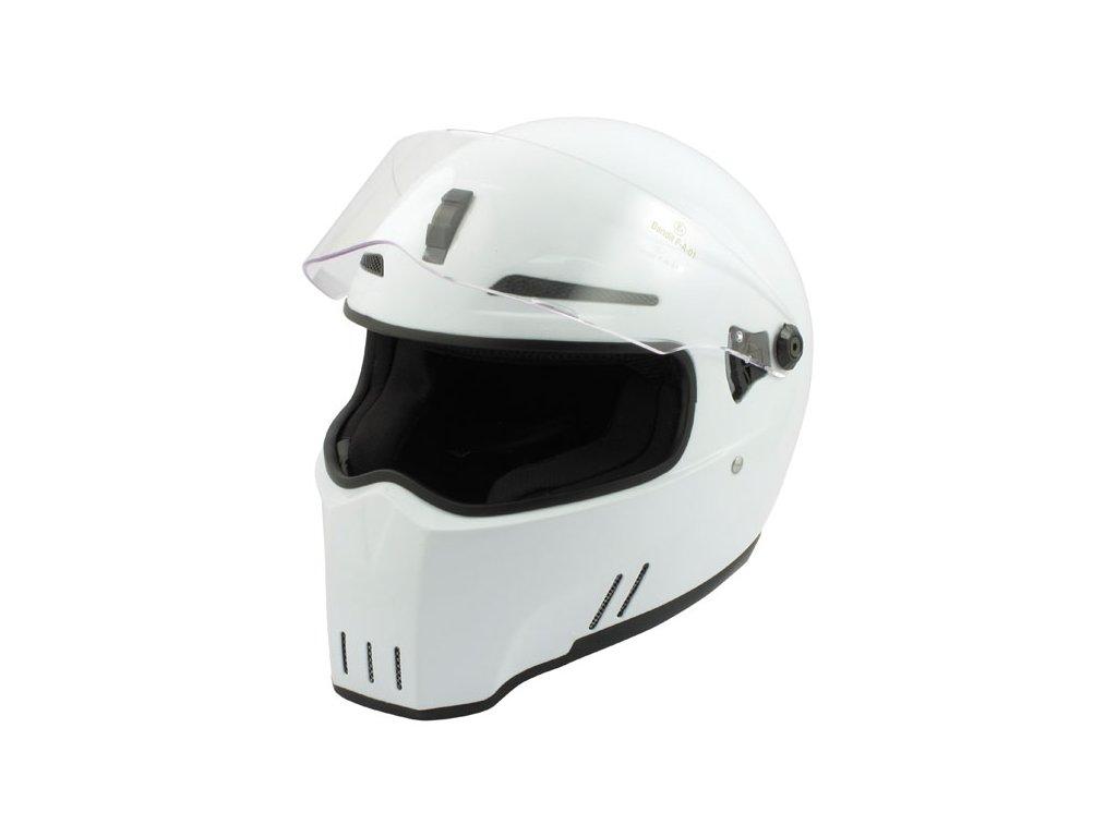 Motorkářská lehká integrální helma ALIEN II - WHITE ECE v bílé barvě