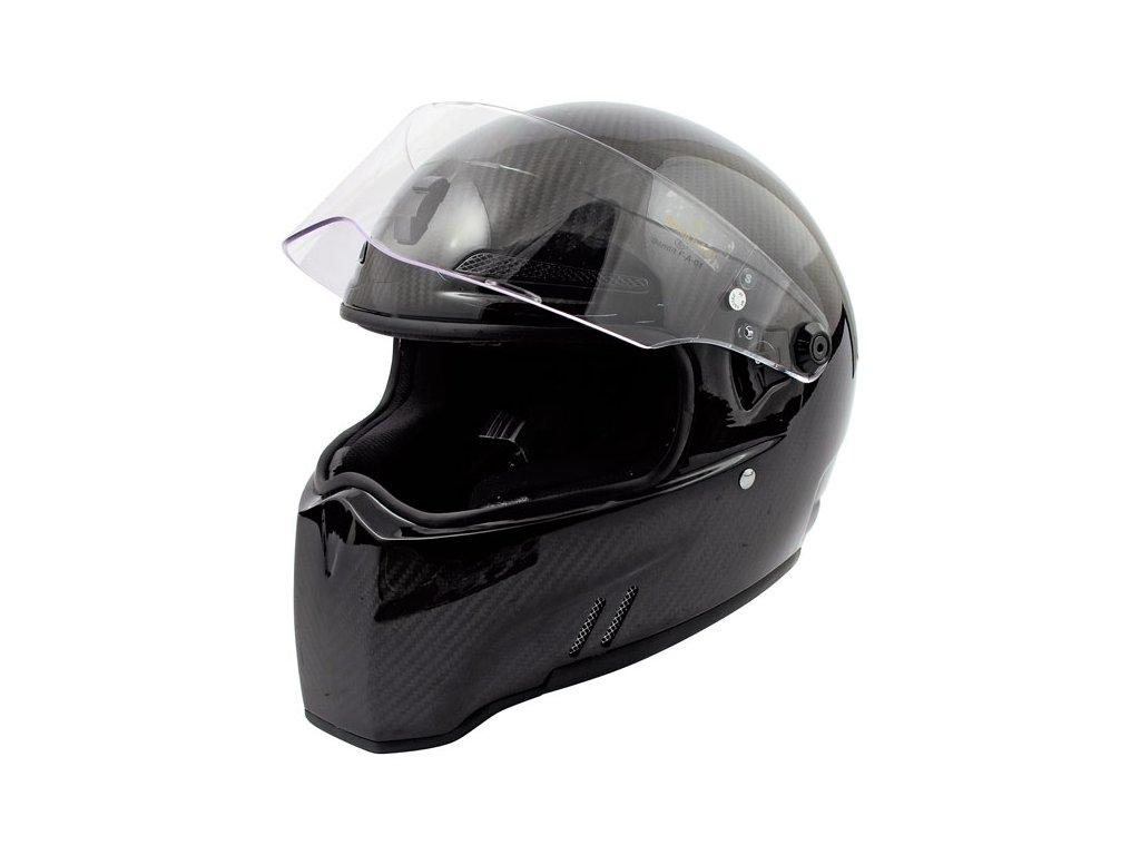 Motorkářská lehká karbonová integrální helma ALIEN II - CARBON ECE v černé barvě