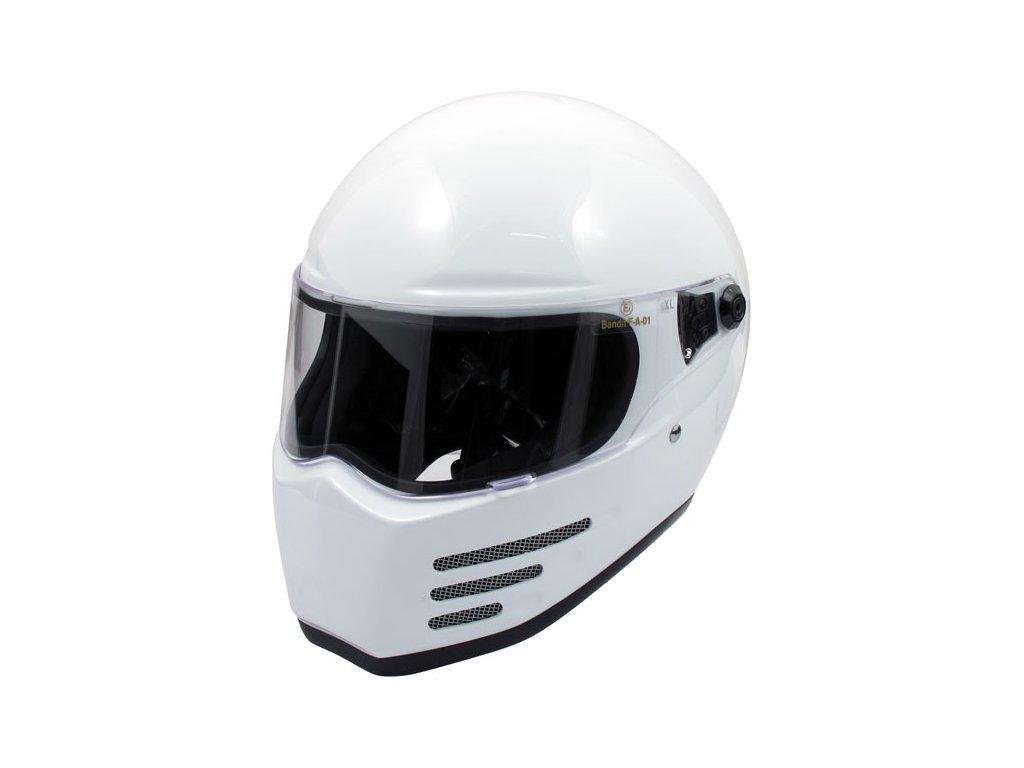 Motorkářská lehká integrální helma FIGHTER WHITE ECE v bílé barvě