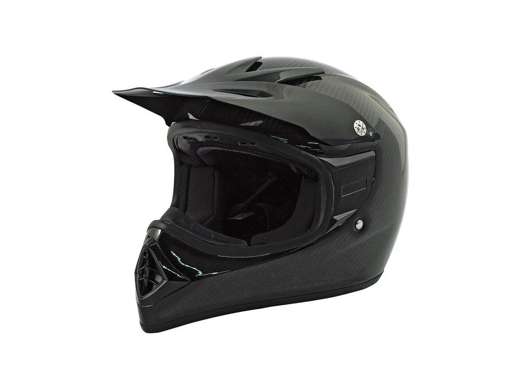 Motorkářská lehká integrální karbonová helma Bandit MX 2 CARBON ECE v černé matné barvě