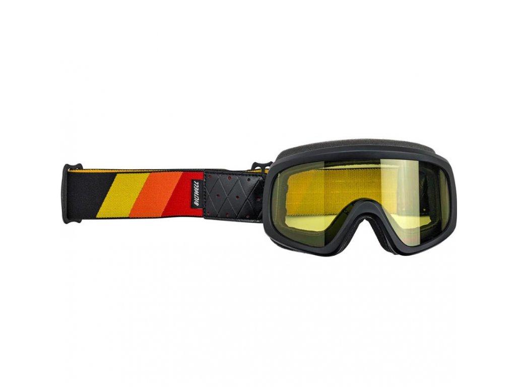 Biltwell, Tri-Stripe Overland Goggle 2.0, Red, Yellow, Orange